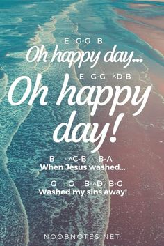 """""""Oh Happy Day"""" is a gospel version of an old Christian hymn – it's immediately recognisable as it's featured in hit films such as Sister Act, Secretariat, Big Momma's House, the Nutty Professor and others. E G-G B Oh happy day G G-G E (Oh … Piano Sheet Music Letters, Piano Music Easy, Song Notes, Music Notes, Drum Lessons, Piano Lessons, Piano Songs For Beginners, Keyboard Lessons, Music Chords"""