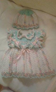 Handmade baby dress pattern. Girl's dress. Baby dress.Hat pattern. Crochet pattern. Beanie hat pattern. Dress pattern.Baby clothes.Baby gift