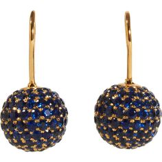 Shamballa Jewels Pave Sapphire Ball Drop Earrings ($10,000) ❤ liked on Polyvore