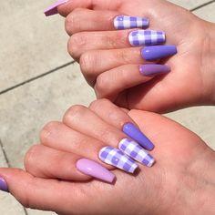 Purple Acrylic Nails, Best Acrylic Nails, Purple Nails, Brown Nails, Plaid Nails, Cute Acrylic Nail Designs, Dope Nail Designs, Acylic Nails, Kawaii Nails