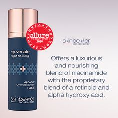SkinBetter Science AlphaRet Overnight Cream FACE offers a luxurious and nourishing blend of niacinamide with the proprietary blend of a retinoid and alpha hydroxy acid. Facial Rejuvenation, Alpha Hydroxy Acid, Moisturiser, Beauty Products, Skincare, Therapy, Science, Cream, Face