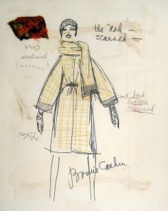 "Bonnie Cashin Sketch- ""The Noh scarved"" wool tweed with wide leather banding 