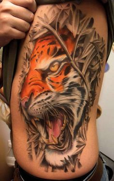 51 tiger tattoo on side