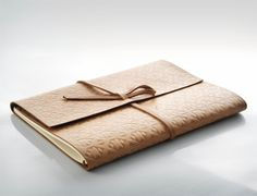 Hot stamped corporate camel leather journal designed for Kuwait brand Zeri Crafts, by Mayúscula Brands