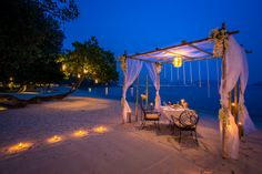 Romantic Private Beachfront Cabana Dining, If you're looking for a romantic seaside restaurant. Seafood and private dinner by the beach at phuket's most romantic dinner. Phuket, Tropical Beach Houses, Tropical Beaches, Beach Images, Beach Pictures, Outdoor Light Fixtures, Outdoor Lighting, Lighting Ideas, Thavorn Beach Village