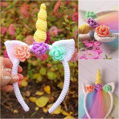 Crochet Unicorn Blanket, Crochet Unicorn Pattern, Unicorn Pillow, Crochet Headband Pattern, Crochet Bunny, Crochet Patterns, Crochet Ideas, Summer Headbands, Crochet Case