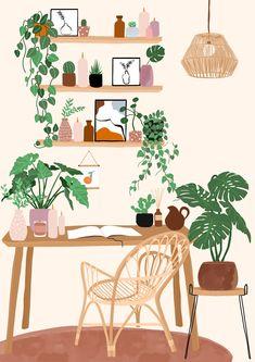 Plant Illustration, Cute Illustration, Digital Illustration, Plant Aesthetic, Aesthetic Art, Arte Shop, Posca Art, Interior Design Sketches, Plant Drawing