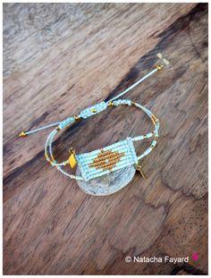 Miyuki delica and micro macrame - Woven bracelet graphic diamond patterns - 6…