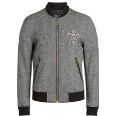 Dolce & Gabbana Tweed Bomber Jacket (53 185 UAH) ❤ liked on Polyvore featuring men's fashion, men's clothing, men's outerwear, men's jackets, grey, mens tweed jacket, mens grey bomber jacket, mens grey jacket, mens gray leather jacket and mens urban jackets