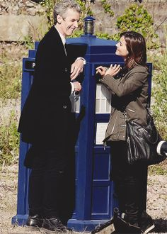 "Twelve + Clara Oswald | Peter Capaldi + Jenna Coleman | Doctor Who | behind the scenes of ""Flatline"" on Barry Island, Wales  June 2014"