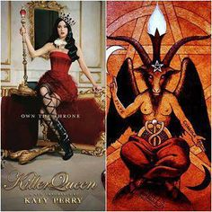 Katy perry doing her best baphomet stance.. smh.