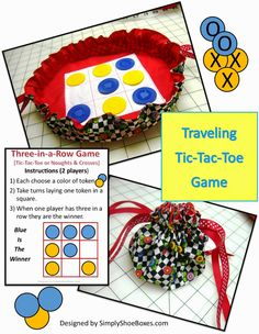 Travel Tic-Tac-Toe Game Tutorial (or Noughts & Crosses) ~ Tutorial to make your own sewn version ~ Simply Shoe Boxes