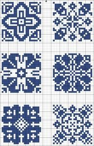 Blue tiles 05   Free chart for cross-stitch, filet crochet   Chart for pattern - Gráfico