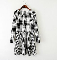 Houndstooth Long-sleeved Skater Dress