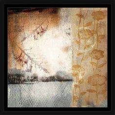 Abstract Texture Leaves & Flowers Patterned Nature Painting Tan & Blue, Framed Canvas Art by Pied Piper Creative, Beige