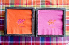 I couldn't resist a few bright cocktail napkins that I kept from blowing away with these pretty boxes.