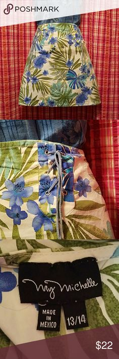 My Michelle Tropical Skirt Tropical.print white with turquoise blue , blue and 2 shades of green ferns. Cotton with spandex,  suede lace sides for decor, zipper back. Junior size 13/14 from Dillards My Michelle Makeup False Eyelashes