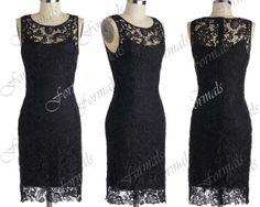Sheath Straps O Neck  Short Lace Black Cocktail Dresses by Formals, $119.00
