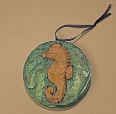 DeTiki Hand Carved SEAHORSE Ornament  Reclaimed wood Nautical Beach Sea Creature