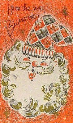 Mid Century Modern Santa Christmas Card ~ Orange Background