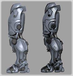 http://www.zbrushcentral.com/showthread.php?190729-Cyborg robot cyborg leg foot machinery sci-fi details servodrive piston armor