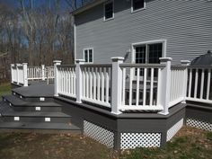 white and gray wood porch | composite decks hot tub decks trellis misc