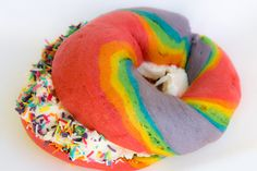 Here is a fantastic recipe that I hinted at in my last video - Rainbow Bagels. I think they are such fun and as I don't live in New York, where you can buy them, I decided it would be fun to make them at home. I love a big bagel but you can make them smaller, of course, and then you will have lots more too!!