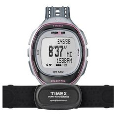 Timex T 5K630 F7 Ironman Run Trainer GPS Watch with HRM - Silver/Pink ~ Elite. GPS technology. Heart Rate Monitor and Strap. Real Time Data. Store 50 Routes. 15 Workout memory with 100 laps in each.