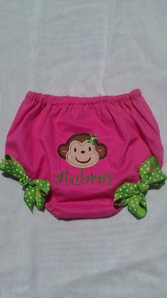Mod Monkey Diaper Cover with Green Bows $18.00 plus 3 for shipping.  By ashlyngracedesign on etsy.  Also has a matching dress - First birthday dress for my Monkey?