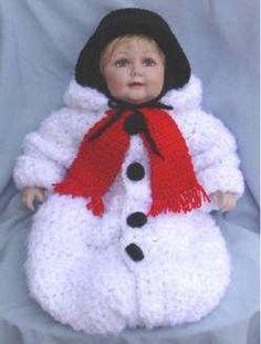 Maggie's Crochet · Snowman Baby Bunting Crochet Pattern/ easy/ newborn to 18 mos./ CROCHET pattern