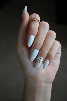 White & Gold Accent Oval Full Cover False Nails by PicturePlurfect