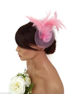 Elegant Pale Pink Mesh Net Rosette and Feather Fascinator Hair Clip Races