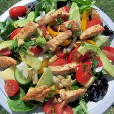 Tropical Salad with Cilantro Lime Vinaigrette Recipe.  This tropical salad combines a mix of fresh greens, chicken strips and veggies with pineapple and a tangy cilantro lime vinaigrette.