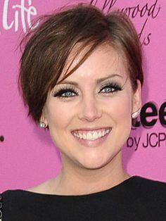 Soft texture and a side-brushed finish give Jessica Stroup's chic crop a sexy and sophisticated feel.