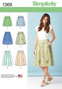 Simplicity 1369 Misses' Skirts in Three Lengths sewing pattern Skirt Patterns Sewing, Simplicity Sewing Patterns, Clothing Patterns, Skirt Sewing, Blouse Patterns, Pattern Skirt, Coat Patterns, Simple Skirt Pattern, Womens Skirt Pattern