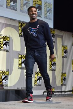 Michael B. Jordan wearing Nike Air Jordan 1 High The Return  Bred  Sneakers 92ab2102e