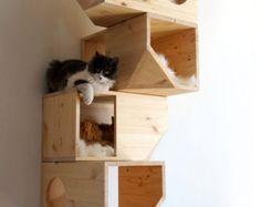 Catissa negro casa Modular gato por CatissaCatTrees en Etsy