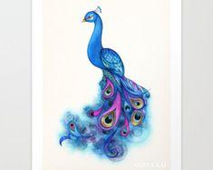 watercolor male peacock - Google Search