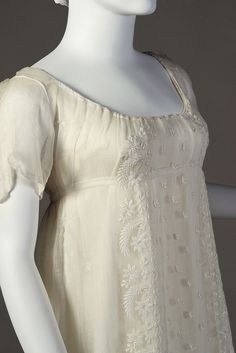 Detail of embroidered dress of sheer cotton, English, ca. 1804-11, KSUM 2002.35.4.