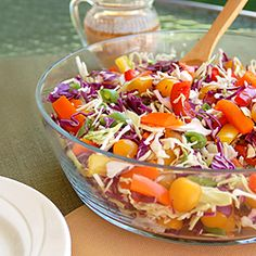 Colorful, flavorful and delicious Asian inspired salad; Slimmer Summer Slaw