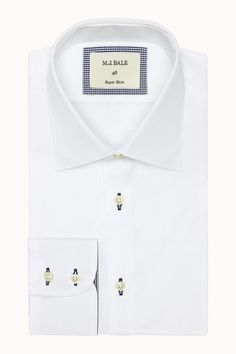 Fusing classic styling and contemporary details, the Doriemus shirt utilises the genius of contrasting with navy button hole stitching and check fabric on the inner cuffs and front button strip. Perfect for an outdoor ceremony! Available at M.J.Bale.