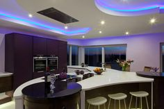 Kitchen Design with LED Lighting Setting and Attributes: LED Lighting Setting On The Ceiling Of Sleek And Chic Kitchen Design Idea For Family Teasing And Friendly Function Invented By Designer Kitchen ~ Myzestyliving.com