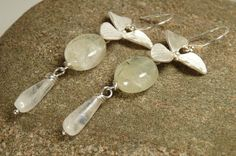 Flower Prehnite and Moonstone Dangle Earrings Flower by ksyardbird, $25.00