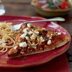 Caramelized Onion and Goat Cheese Pizza | MyRecipes.com Also good with just onions & cheese & drizzle of balsamic