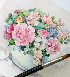 Букет с розой и хлопком в белой вазе – купить в интернет-магазине на Ярмарке Мастеров с доставкой - FLOHNRU | Тольятти
