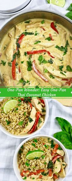 This Asian Food One-Pan Wonder: Easy One-Pan Thai Coconut Chicken is lusty, cushy to eliminate, and ladened of sort. Perfect to alter for a. Dinner Entrees, Dinner Dishes, Thai Dishes, Coconut Recipes, Healthy Recipes, Delicious Recipes, Thai Coconut Curry Chicken, Cooking Chicken Wings, Cooking Pork Tenderloin