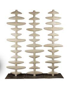 Three Glazed Ceramic Folding Screen Sculptures 6 ft height, by Clara Graziolino, Spain 2013
