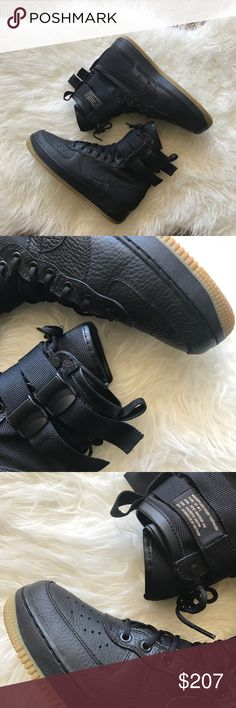Nike SF AF1 Up for grabs is a pair of Nike SF Air Force 1's in the highly coveted black/gum colorway. They feature a ballistic nylon with premium leather overlays for durabilty, two removable ankle straps and a full length midsole with encapsulated Nike air unit that provides lightweight cushioning. They come with original box, receipt and packaging. Nike Shoes Sneakers