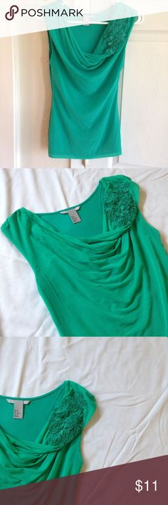 """Mint embellished blouse An elegant scoop neck chiffon and jersey  blouse. Embellishment is a floral embroidered appliqué. A few small but unnoticeable snags in chiffon. Length: 25"""". Armpit to armpit: 14.5"""". ❣Make an offer!❣❌No Trades❌ H&M Tops Blouses"""