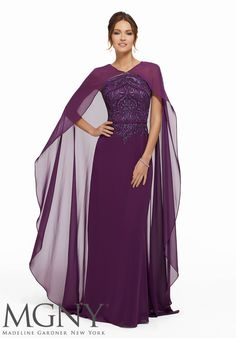 Evening dresses, designer mother of the bride dresses, mgny madeline gardner evening gowns beaded embroidery on chiffon with chiffon cape overlay style: Formal Dresses Long Elegant, Grad Dresses Short, Formal Dresses For Weddings, Formal Evening Dresses, Dresses For Teens, Modest Dresses, Formal Gowns, Evening Gowns, Prom Dresses